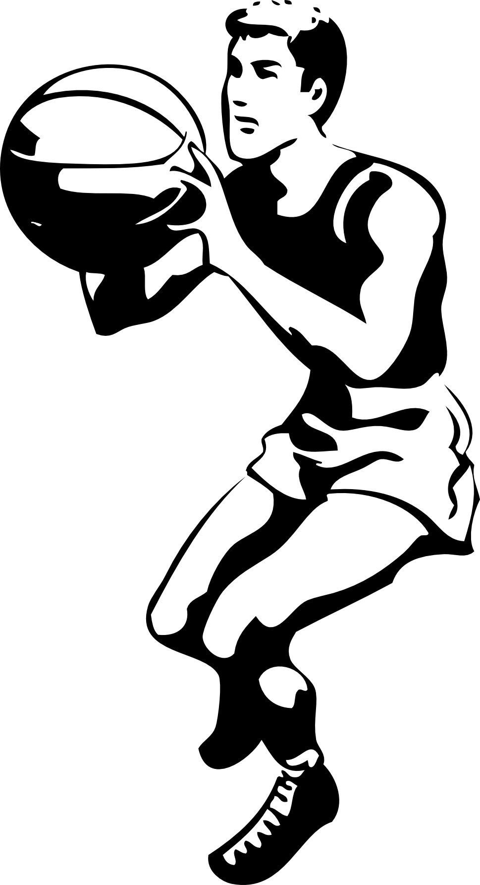 Basketball Player Black White Line Art Tatoo Tattoo ... - ClipArt ...