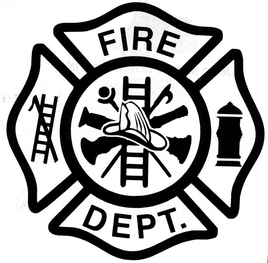 Fire department logo black background clipart