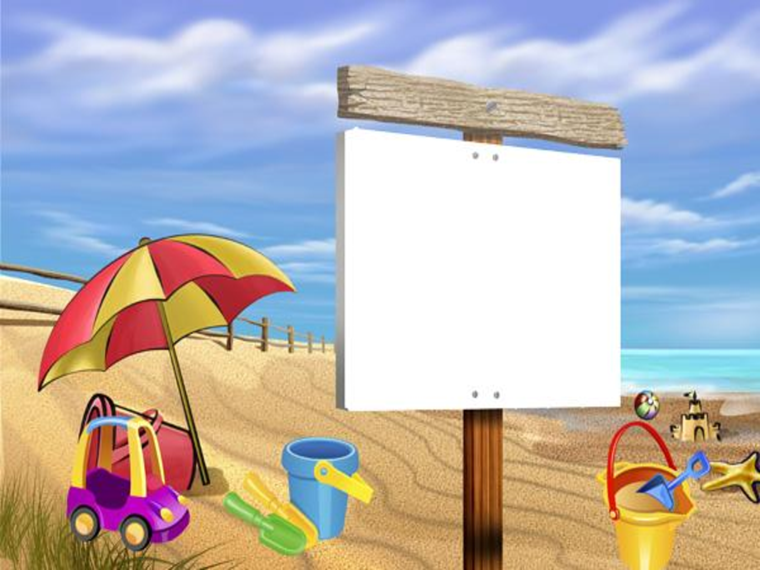 free powerpoint templates beach sign slide clipart