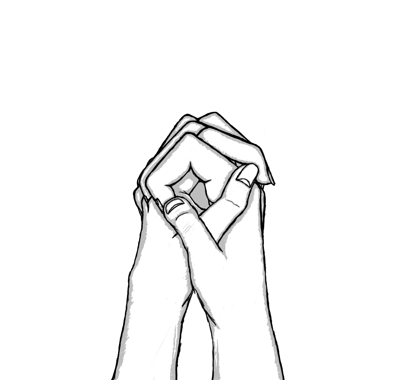 Line Drawing Of Hand : Holding hands draw the clipart best