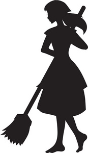 Girl Cleaning Silhouet...