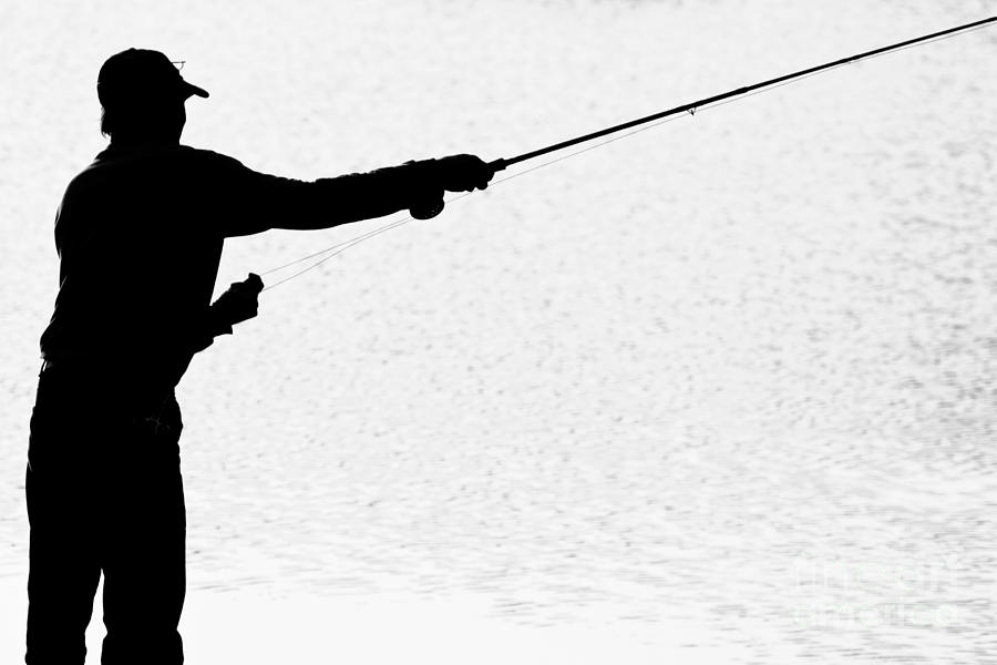 Fly fishing silhouette