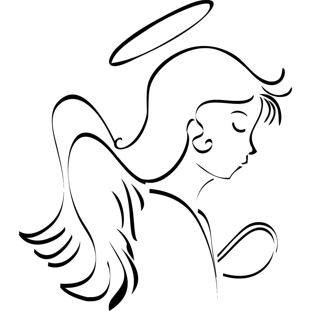 Line Art Clipart : Angel line drawing clipart best