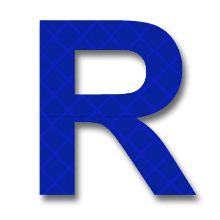 "AfterGlow - Retroreflective 2 inch Letter ""R"" - Blue ..."