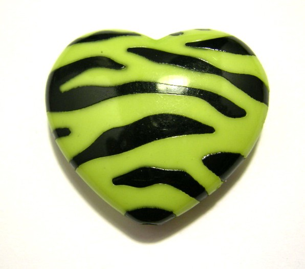 Neon Zebra Hearts Lime Green Zebra Print Heart