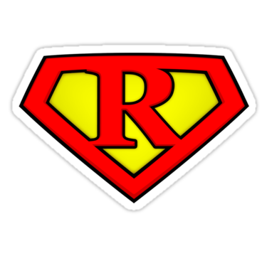 "SUPER R Logo Shield"" Stickers by adamcampen 