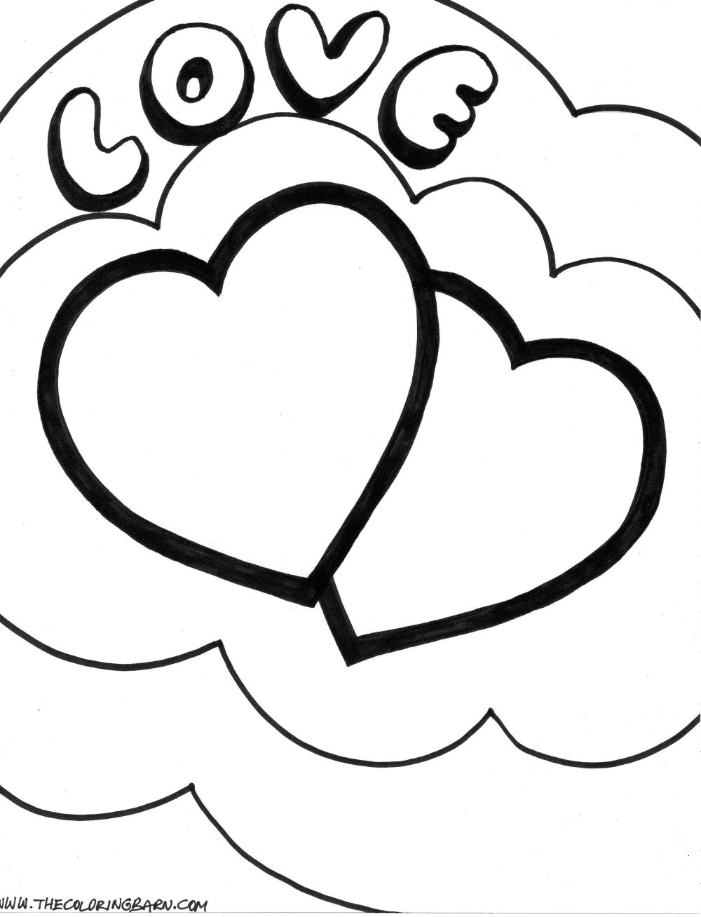 double heart coloring pages - photo#3