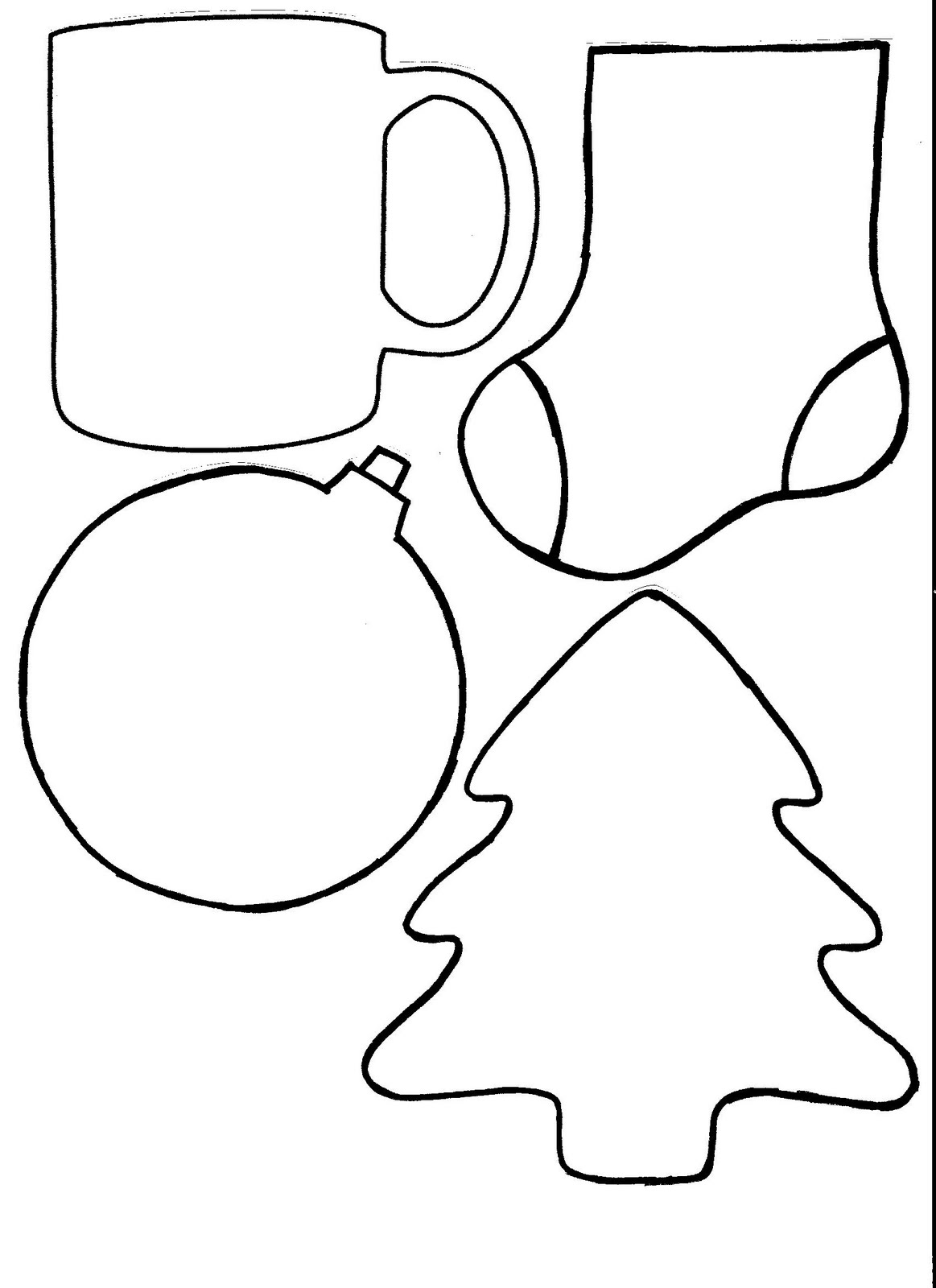 christmas shapes coloring pages - photo#16