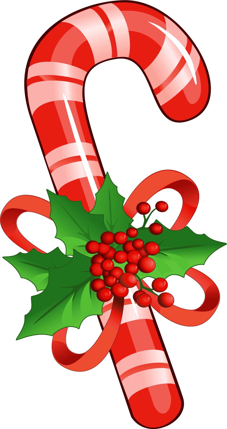 Candy cane with mistletoe png clipart