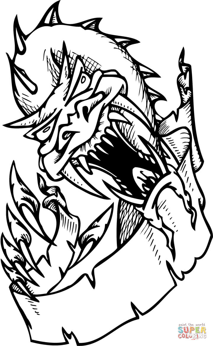 scary dragon coloring page  free printable coloring pages