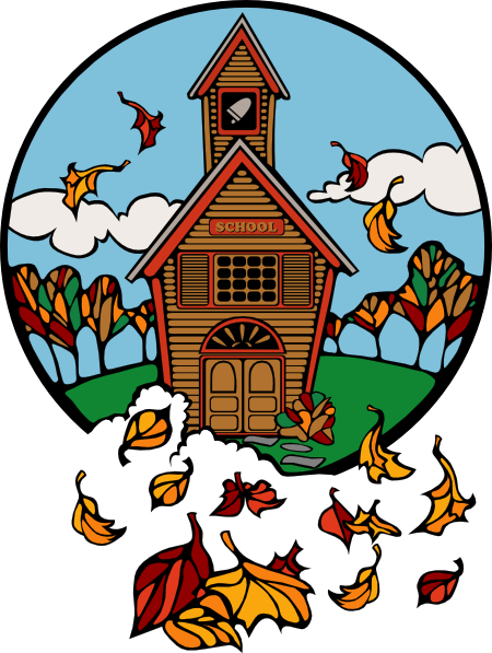 School In Fall clip art - vector clip art online, royalty free ...