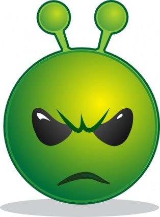 Download Smiley Green Alien Unhappy clip art Vector Free .