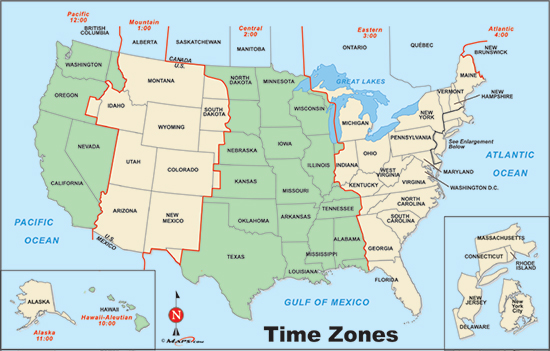 United States Time Zones Map Printable