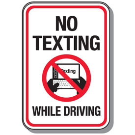No Texting While Driving Sign, Yellow Warning Sign With Words No ...