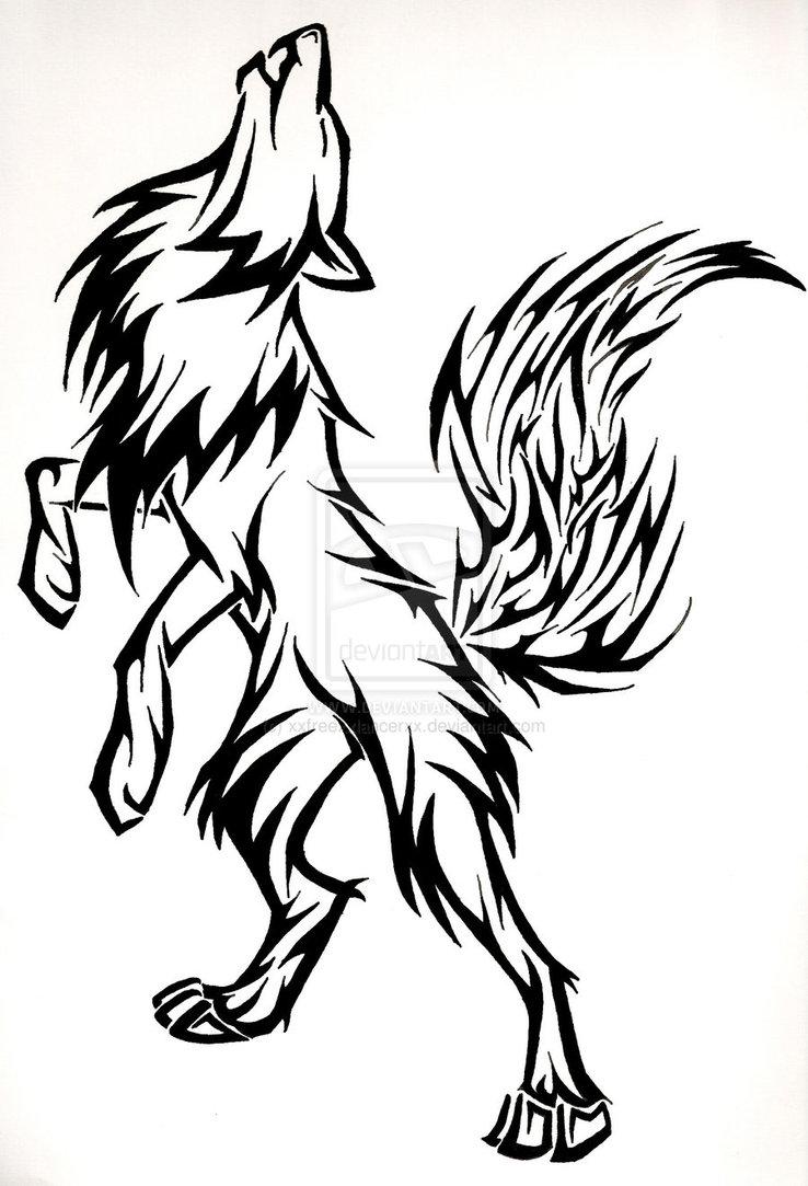 Cartoon wolf howling drawings - photo#23