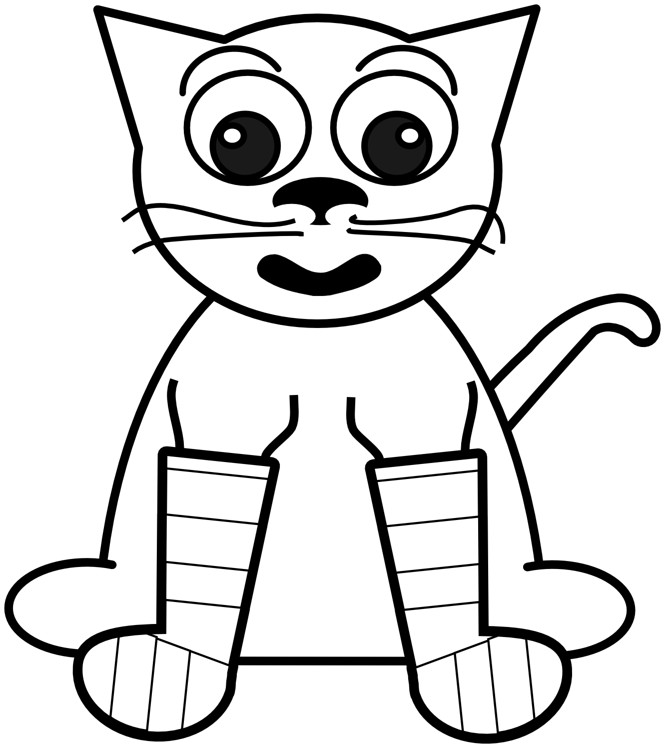 Line Drawing Rainbow : Line drawing of cat clipart best