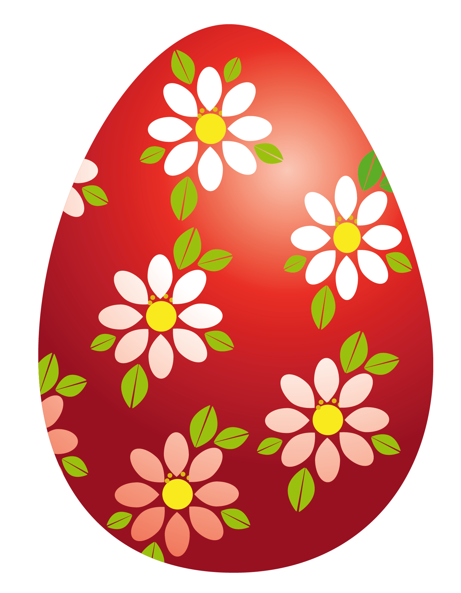 Easter red egg with flowers png clipart picture