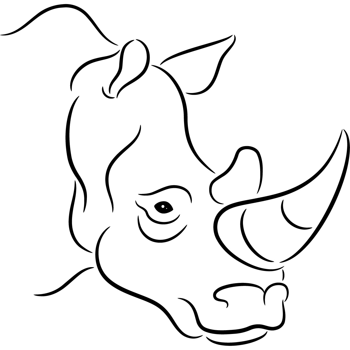 Out Line Drawing Of Animals : Outline of rhino clipart best