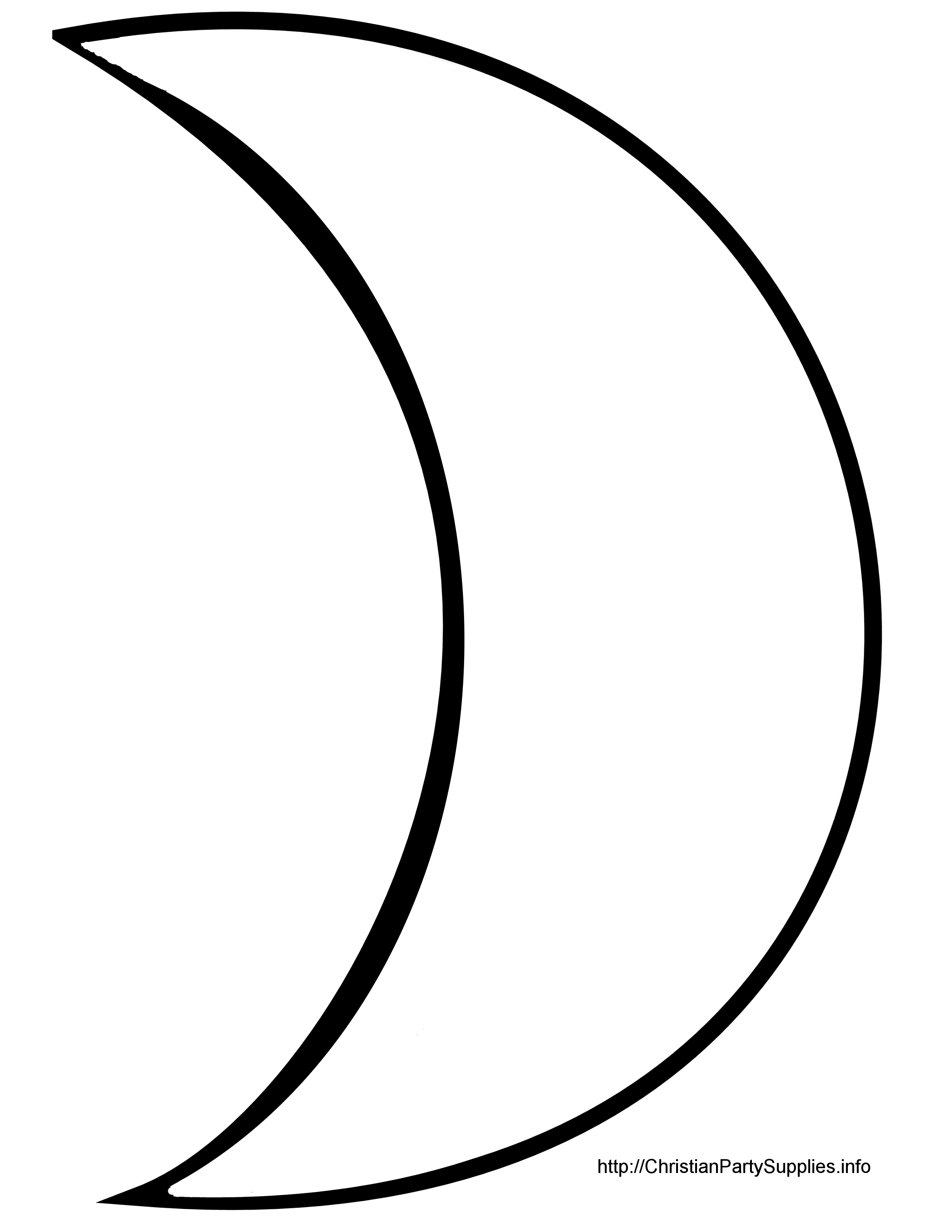Half Crescent Moon With Face Tattoo: HALF MOON Outline