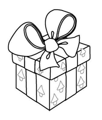 Рисунок раскраска подарок