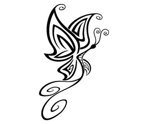 Line Drawing Butterfly Tattoo : Butterflies line drawings clipart best