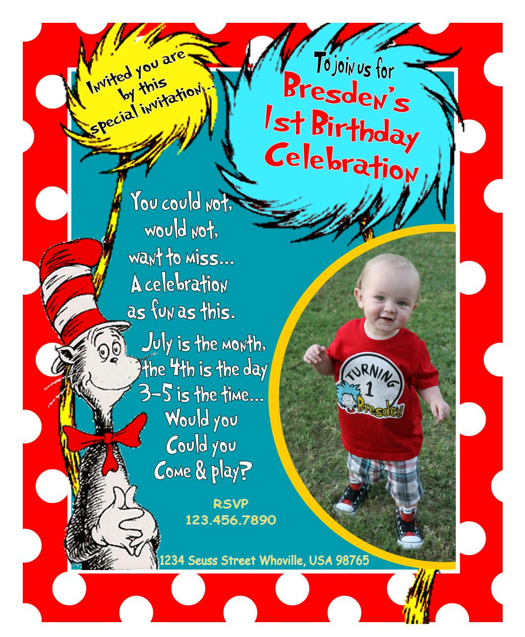 Circus birthday party invitation template free clipart best for Dr seuss birthday card template