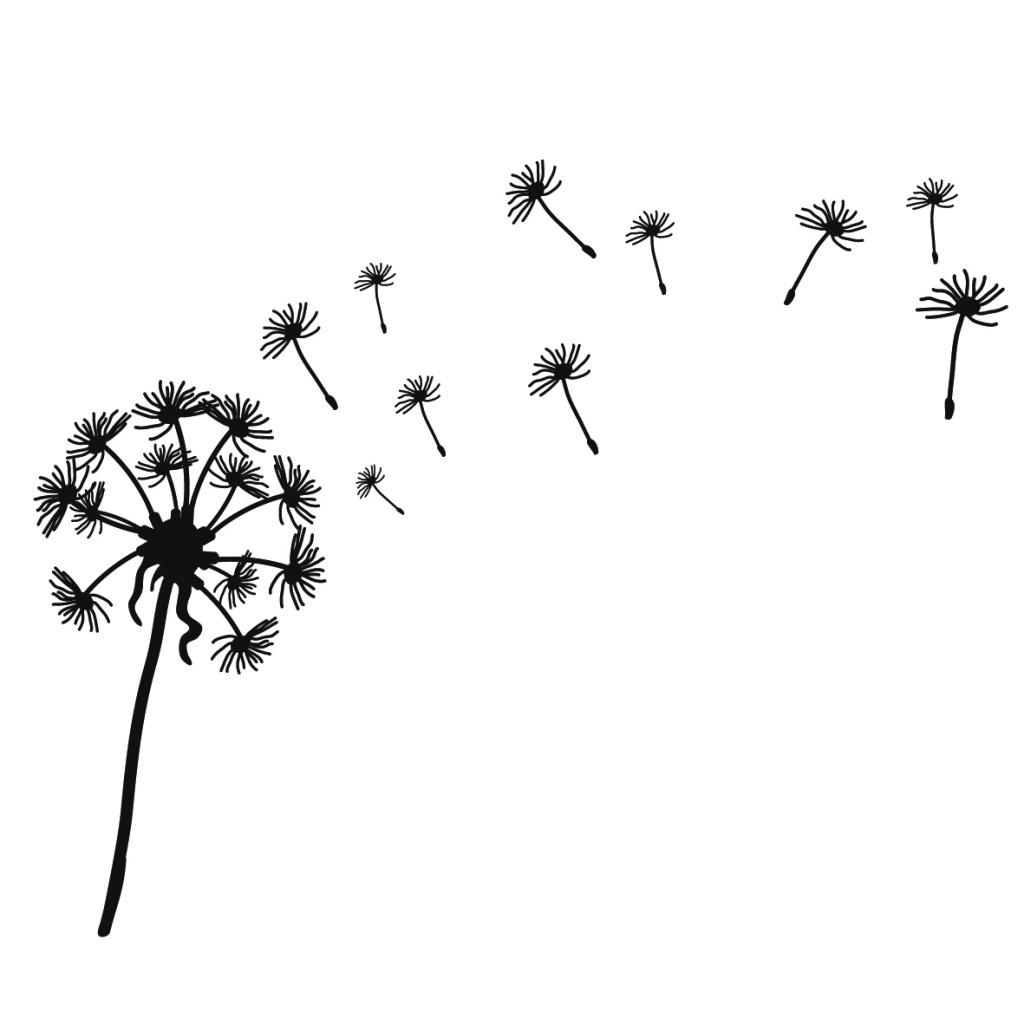 dandelion clip art black and white clipart best. Black Bedroom Furniture Sets. Home Design Ideas
