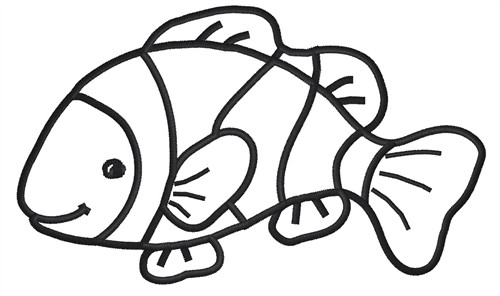 Animals Embroidery Design Clownfish Outline From King
