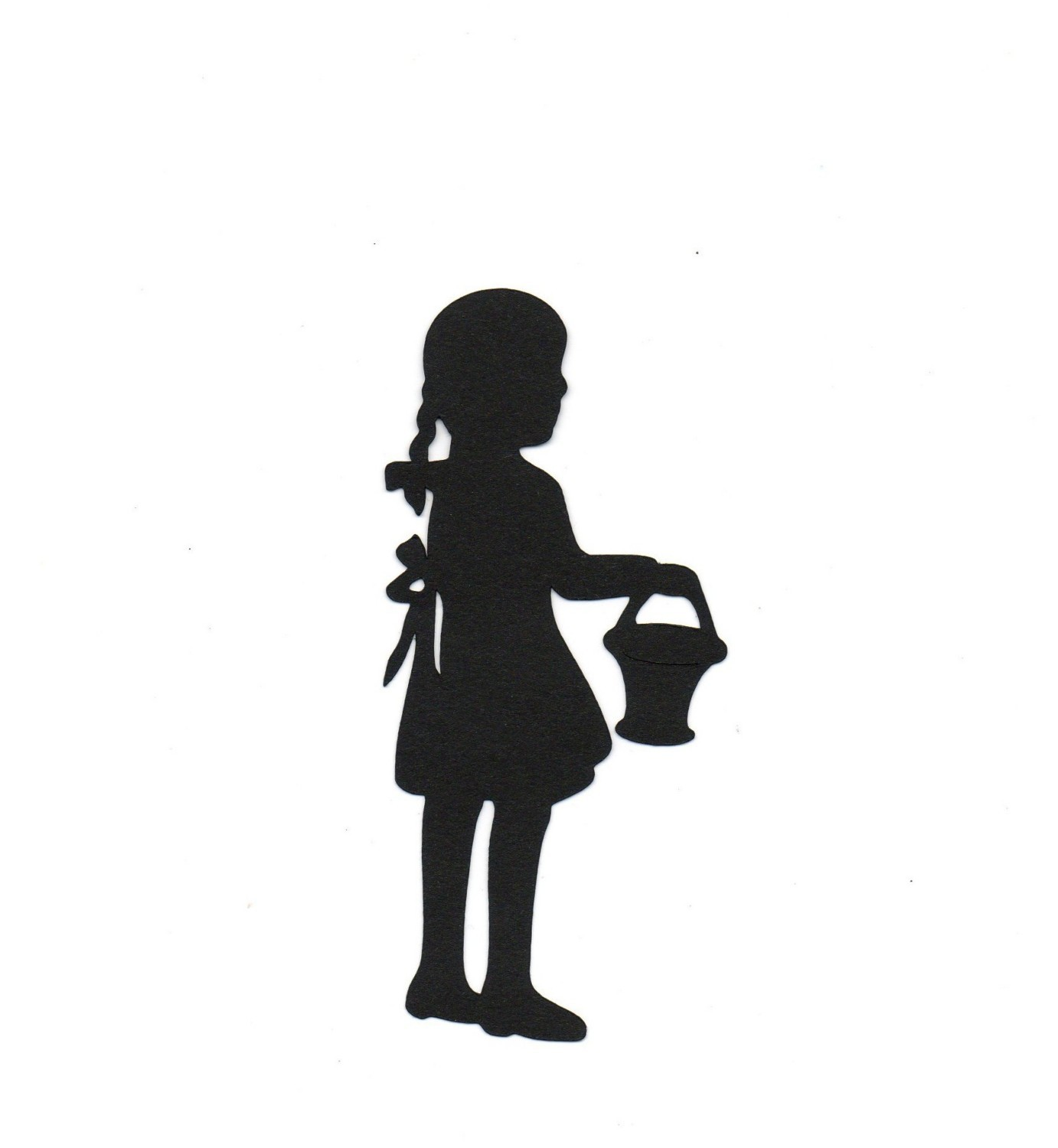 girl w/ basket Child Silhouette die by simplymadescrapbooks - ClipArt ...