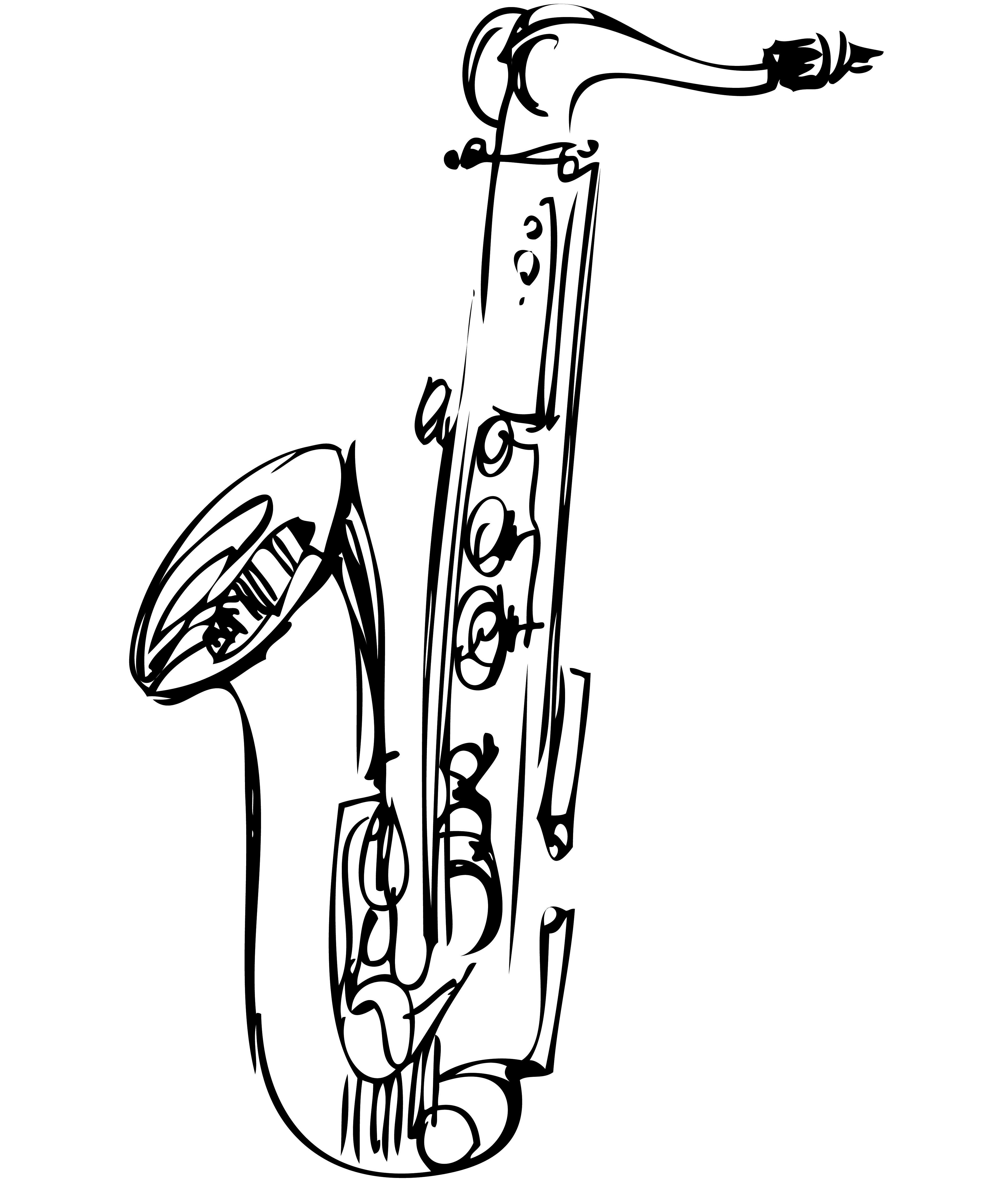 Saxophone drawing clipart best - Saxophone dessin ...