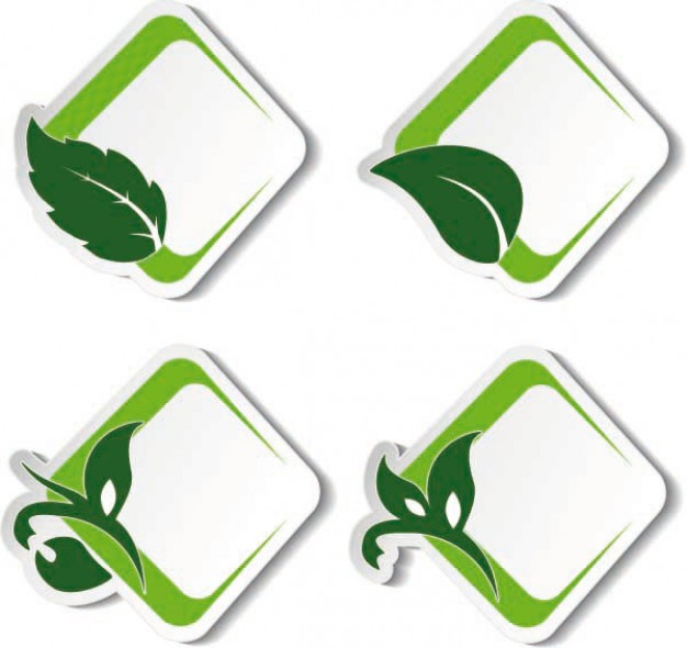 environmental green leaf label vector | Download free Vector - ClipArt ...
