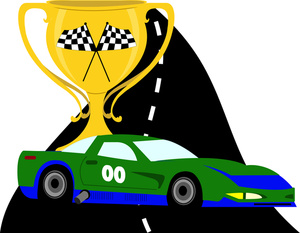 Racing Clipart Image  Gold Cup Trophy with a Cartoon Race