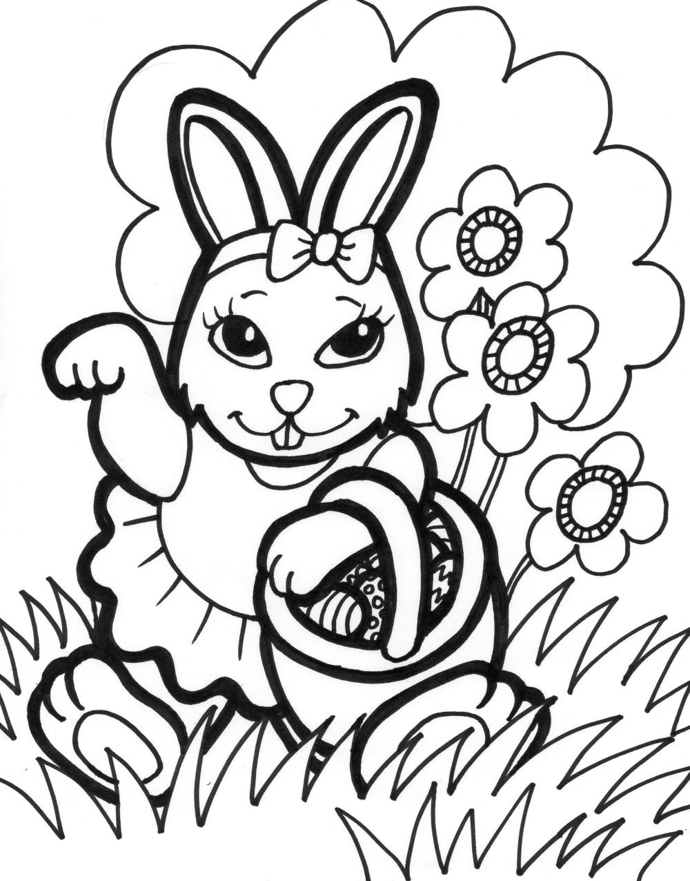 Easter Bunny Clip Art Coloring Pages - ClipArt Best