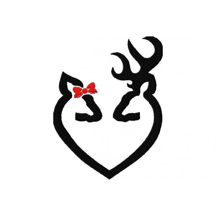 Browning Heart With Bow - ClipArt Best