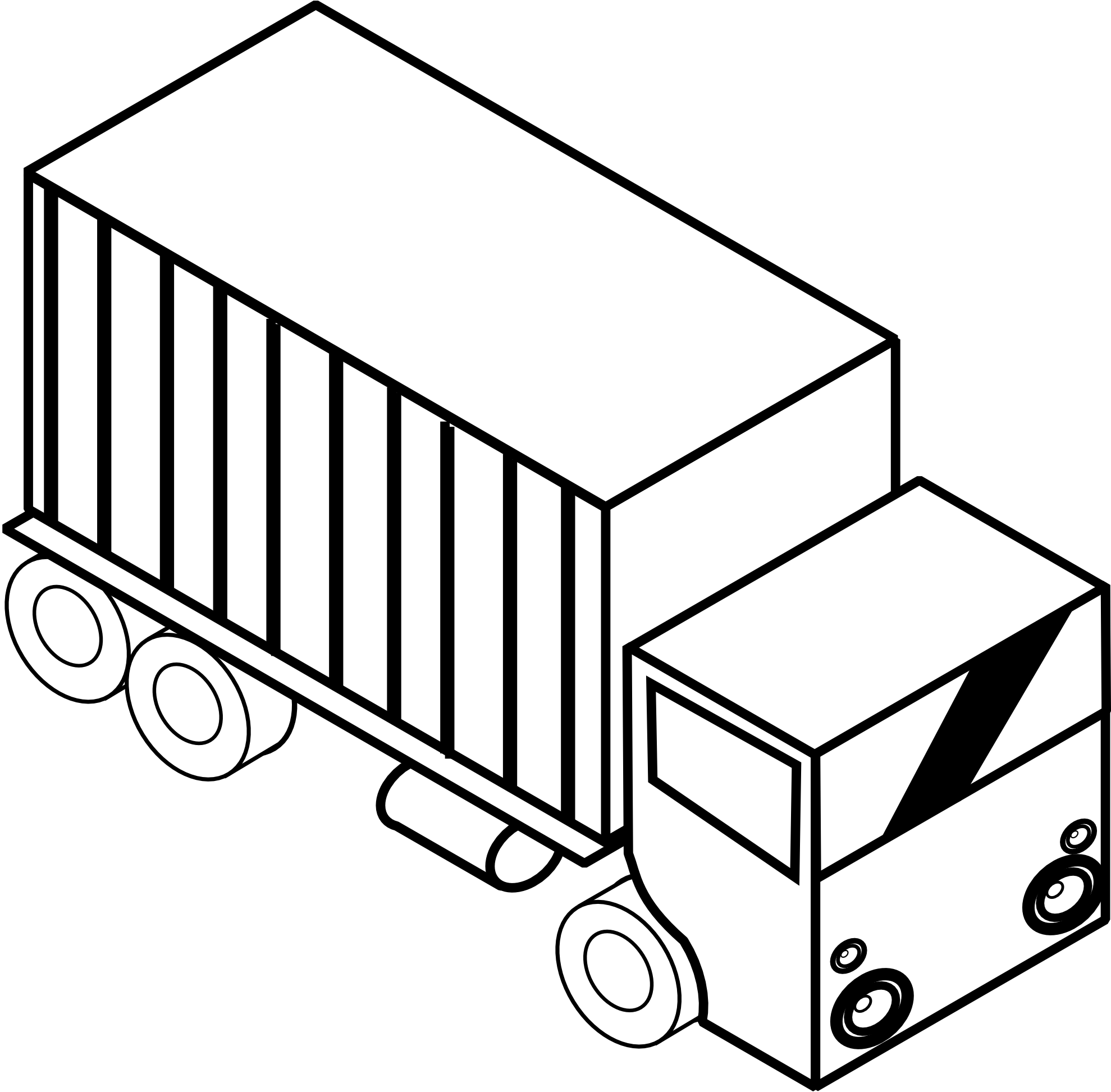 Clip Art: Iso Truck 3 Black White Line Art ... - ClipArt ...