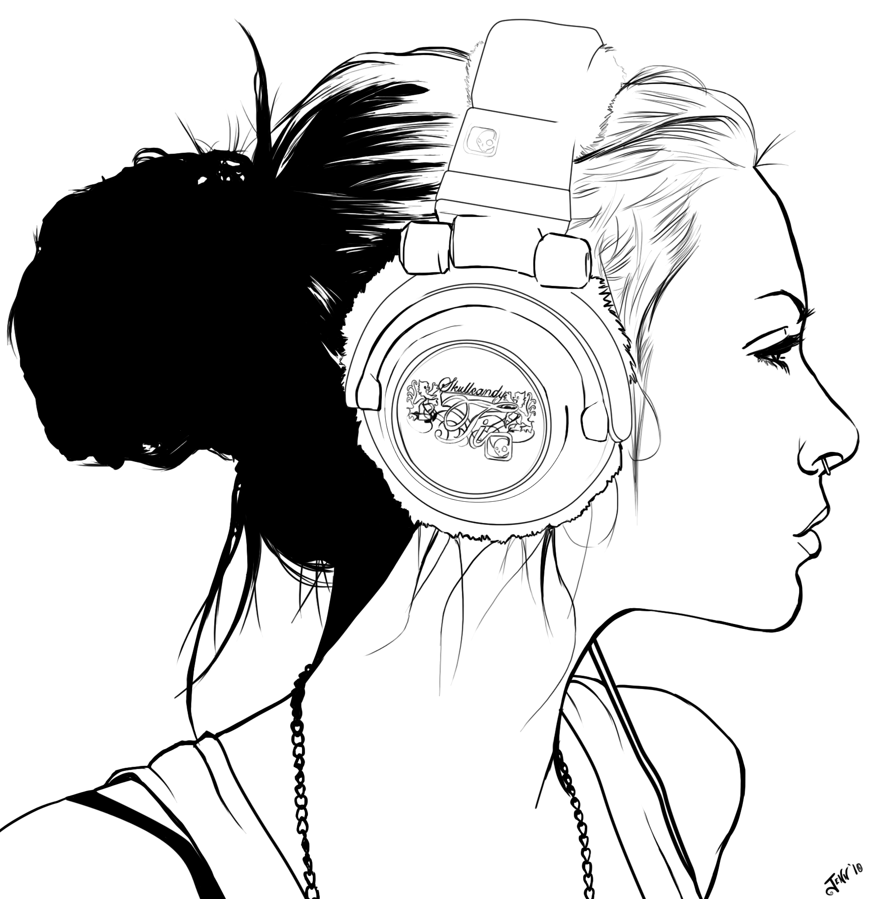 Line Art Digital : People with headphones drawing clipart best