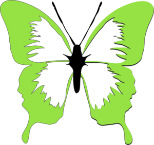 lime green butterfly clip art