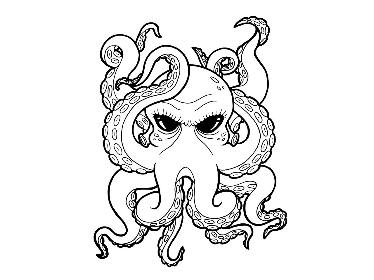 Free Octopus Drawings Octopus Drawing Black And