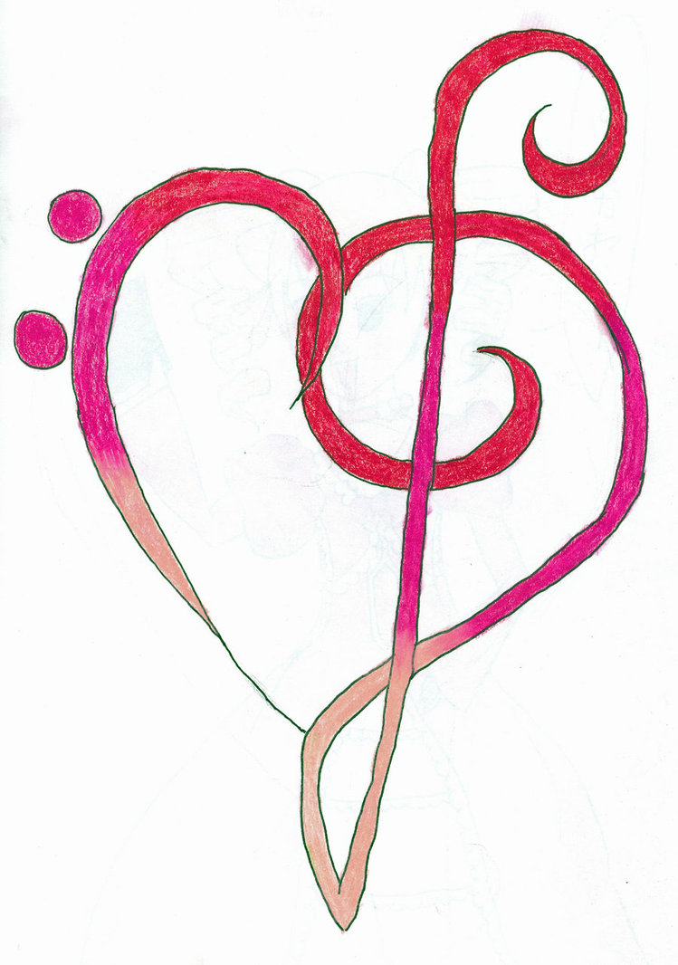 Heartsong's Cutie Mark By Kilecroc - Treble Clef Bass Clef Heart - Free  Transparent PNG Clipart Images Download