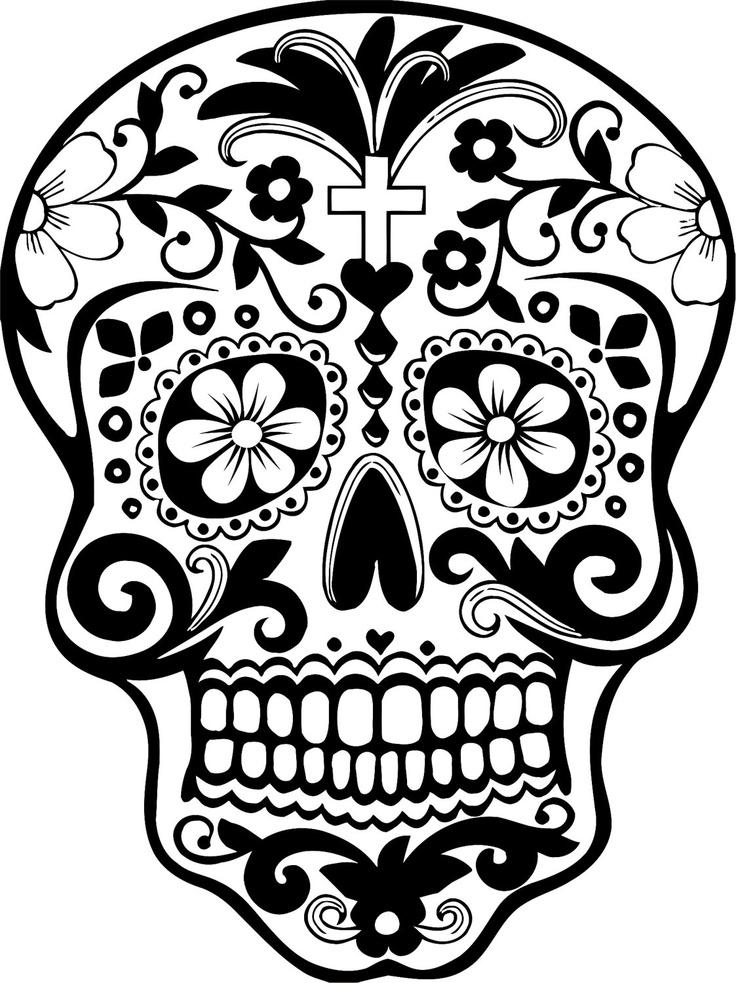 Sugar skull clipart for Dia de los muertos skull coloring page