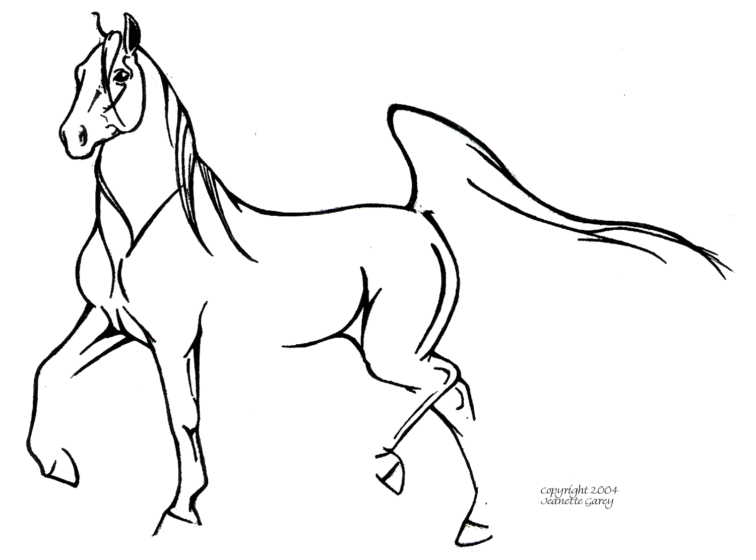 Running arabian horse drawing