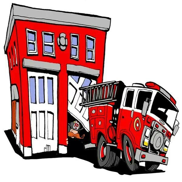 Fire truck at station cartoon | Fire Trucks / Ambulances | Pinterest