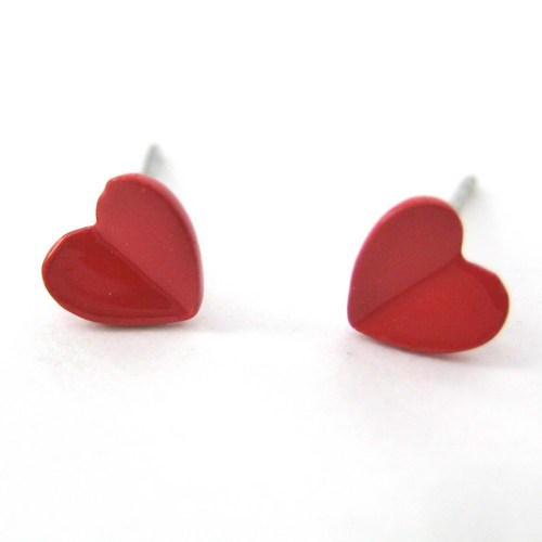 Small Simple Love Heart Shaped Stud Earrings in Red | dotoly ...