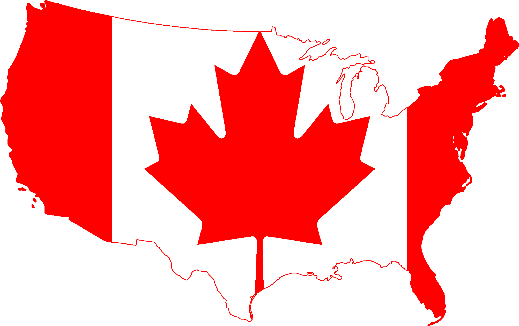 Printable Map Of Us And Canada - ClipArt Best