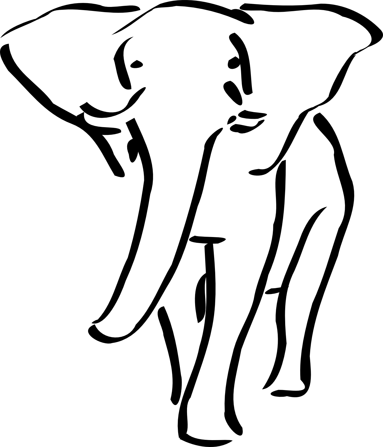 Simple Clip Art Line : Melwe elephant black white line art tatoo tattoo svg