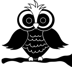 Owl Clipart Image - Black and White Owl Cartoon - ClipArt ...
