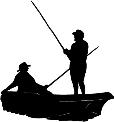 Men fishing john boat decal bumper sticker bass for Two man fishing boat