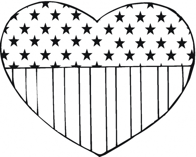 USA Flag in heart shape coloring page | Super Coloring