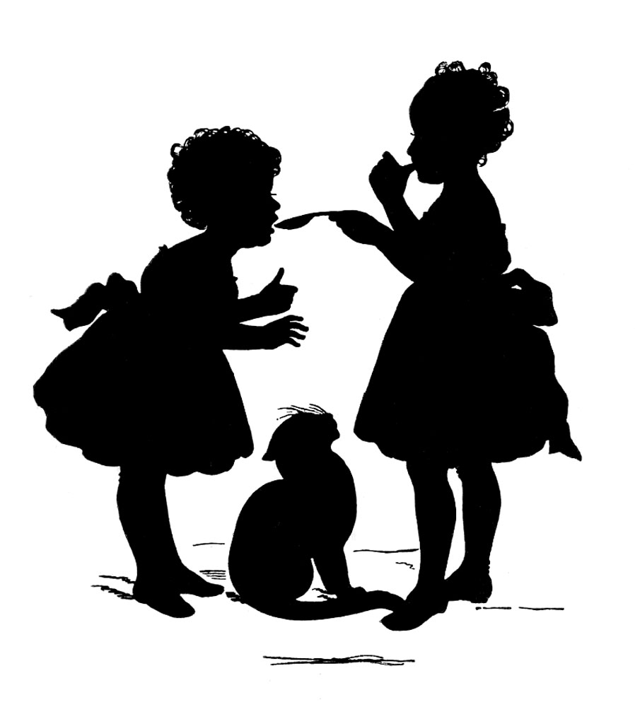 Vintage Graphic Silhouette - Children with Cat - The Graphics Fairy