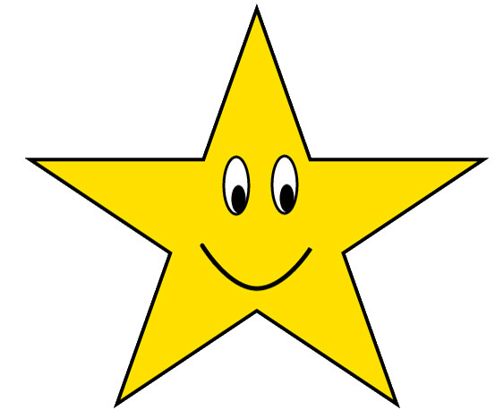 Gold Star With Happy Face Clipart Sketch , Lge 12cm Photos
